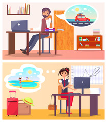 Office Employees Dream about Summer Travel Set