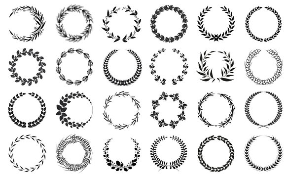 Wreaths Collection Black and White Patterns Set