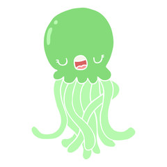 flat color style cartoon jellyfish