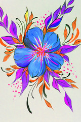 Flowers illustration on a black background. Oil Painting, Impressionism style, flower painting, canvas,