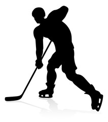 A detailed silhouette ice hockey player sports illustration