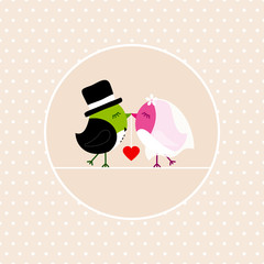 Wedding Birds Holding Heart Dots Background Beige