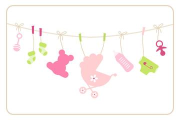 Gift Card Baby Symbols Girl