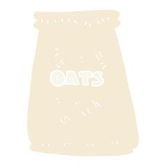 flat color illustration of a cartoon bag of oats