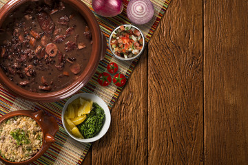 Brazilian Feijoada Food. Top view with copy space.
