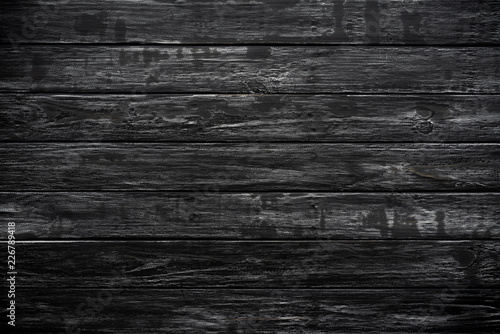 Top View Of Black Wood Texture Background Wooden Table Blank For Design