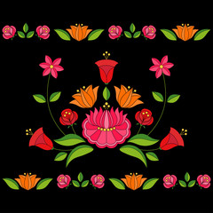Hungarian folk pattern vector seamless borders on black background. Kalocsa embroidery floral ethnic ornament. Slavic eastern european print isolated. Traditional vintage flower design.