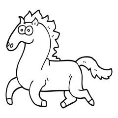 line drawing cartoon running horse