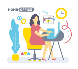 Vector illustration of color side view interior home office room workspace with woman, plant.