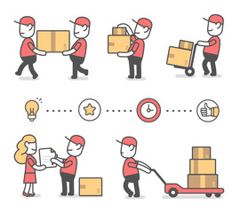 Vector creative set of illustration of delivery happy man in red uniform with boxes in different poses and icon.