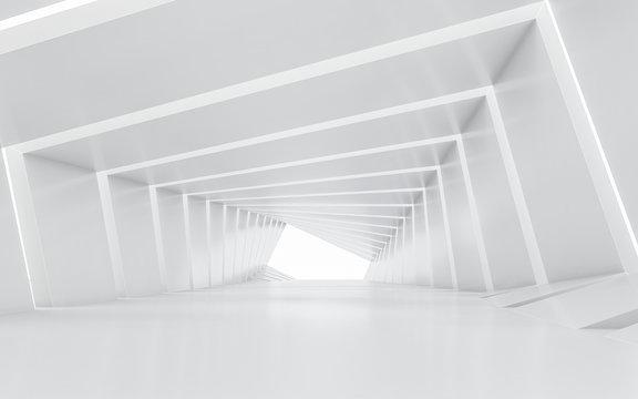 Illuminated corridor interior design. 3D rendering.