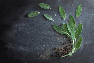 Obraz Leaves of fresh sage, black ceg peas on a dark background - fototapety do salonu