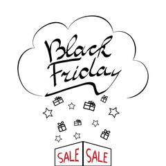 Vector design composition on the theme of Black Friday with the original inscription (lettering). Sale, discounts