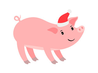 Funny pink pig in Santa hat, Ney year vector icon