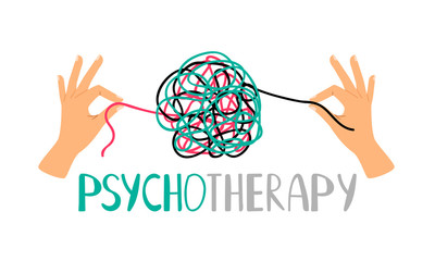 Obraz Psychotherapy concept illustration with hands untangling messy snarl knot, vector illustration - fototapety do salonu