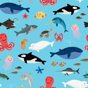 Sea animals on blue background pattern with whales and sharks, dolphins and octopus, vector illustration