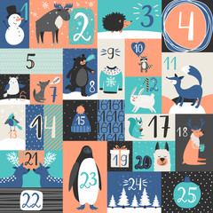 Xmas advent calendar. Christmas days calendar countdown with winter with new years symbols, cute animals and numbers vector illustration