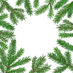 Background with realistic green fir tree branch. Place for text, congratulation. Christmas, New Year symbol.