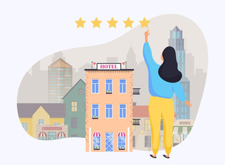 Woman giving rating to hotel. Hand choosing positive review. Flat design modern vector illustration concept.