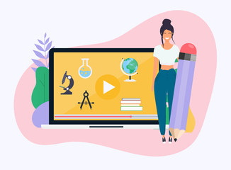 Woman with pencil. Online education concept. Science concept with book computer and studying icons. .E-learning. Flat design modern vector illustration concept.