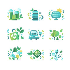Eco related symbols set, ecology cocept, environment protection, eco friendly technologies vector Illustration on a white background