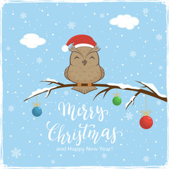 Owl with Colored Balls and Lettering Merry Christmas on Winter Background