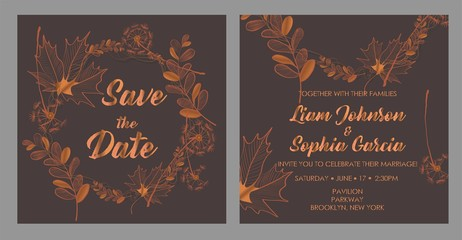Wedding invitation cards with autumn leaves.