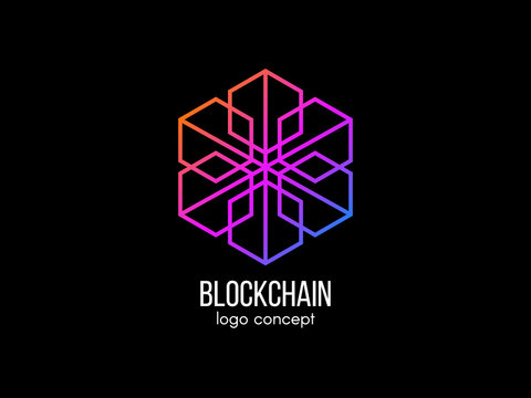 Blockchain logo concept. Modern technology design. Color cube logotype. Cryptocurrency and bitcoin label. Digital money icon. Vector illustration