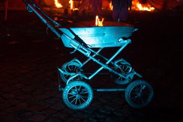 stroller in the fire