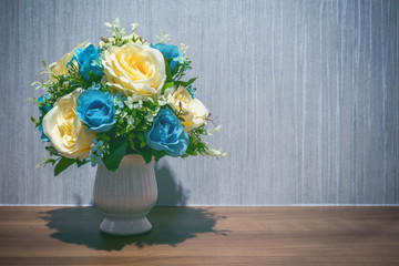 Wall Mural - Flowers in a white jar.