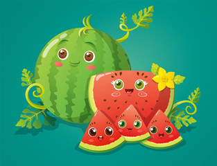 Cute watermelon characters with couple and childs. Vector illustration isolated on green background.
