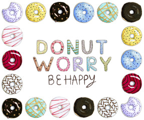 Donut Worry Be Happy Funny Card with donut font and square donut frame