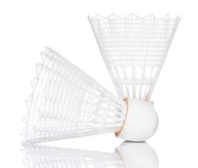 White shuttlecock for badminton isolated on white background