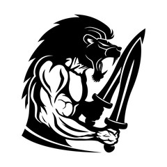Strong warrior with a lion head and two swords on a white background.