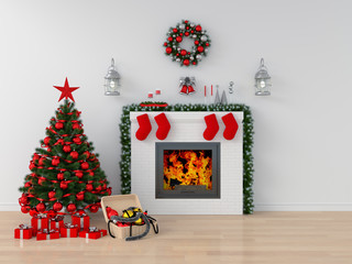 Christmas tree and fireplace in white room for mockup, 3D rendering