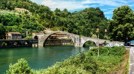 """Ponte della Maddalena, """"Devil's Bridge"""" in Borgo a Mozzano, province of Lucca, Tuscany"""
