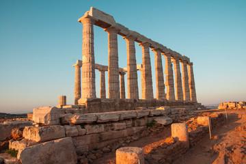 Temple of Poseidon at sunset , Atiika, Greece
