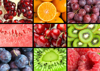 Background of fresh mixed fruits. Healthy food. Collection fruits texture