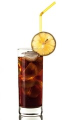 Cola With Ice Cubes, Lemon And Straw In Glass
