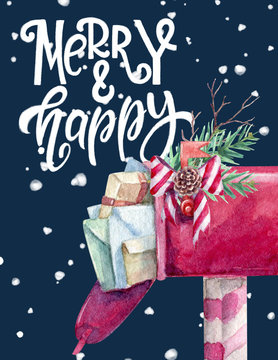 Watercolor christmas card with lettering and red mailbox