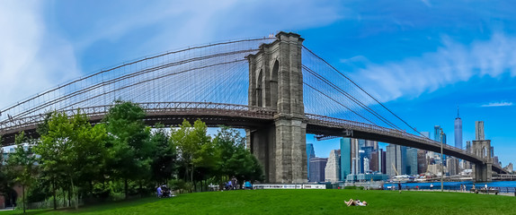 Printed kitchen splashbacks Brooklyn Bridge Panoramic Brooklyn Bridge Landscape