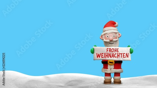 """Weihnachtsmann aus Knete mit Schild """"Frohe Weihnachten"""" – Animation ..."""