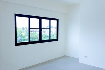 window and door black aluminum on wall