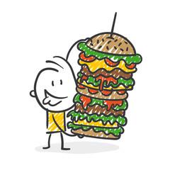 Strichfiguren / Strichmännchen: Fast Food, Essen, Hamburger. (Nr. 319)