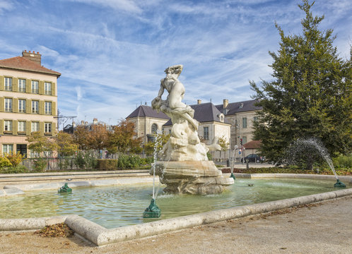 Fountain at the old town of Troyes, France