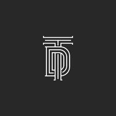 Monogram TD or DT initials of the logo, a combination of two crossed letters T and D, wedding emblem linear art in medieval style