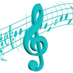 Violinschlüssel, Musiknoten, weißer Hintergrund