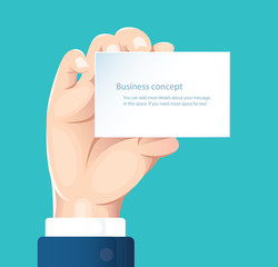 human hand holding white paper isolate on blue background vector design illustration eps10