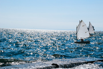 The seafront in the city of Thessaloniki, Greece. Mediterranean Sea, holiday resort. Windsurfing.