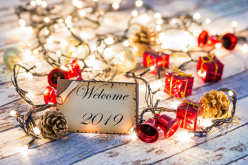 Greeting card for new year or christmas with Christmas lights and decorations